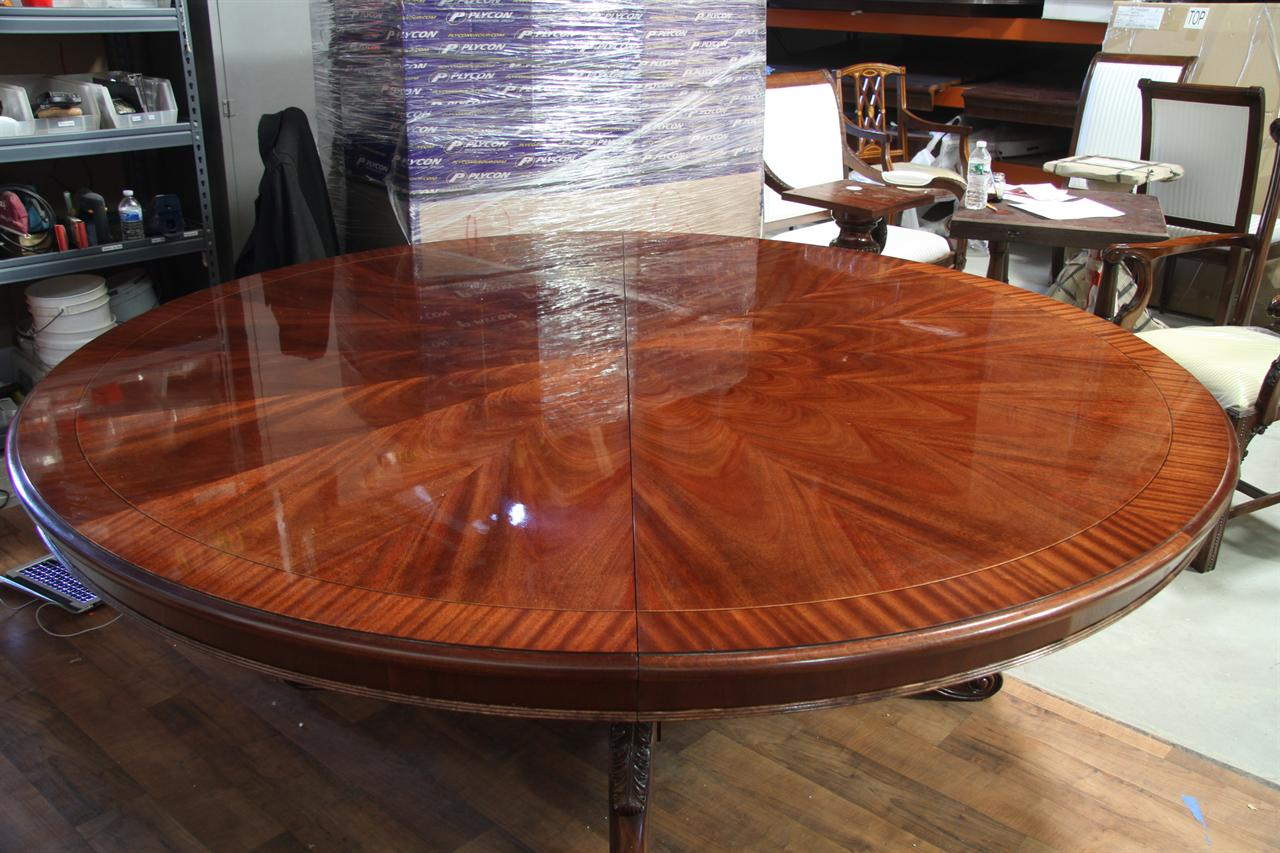 Large 84 inch round mahogany dining table round table for Large dining table seats 10
