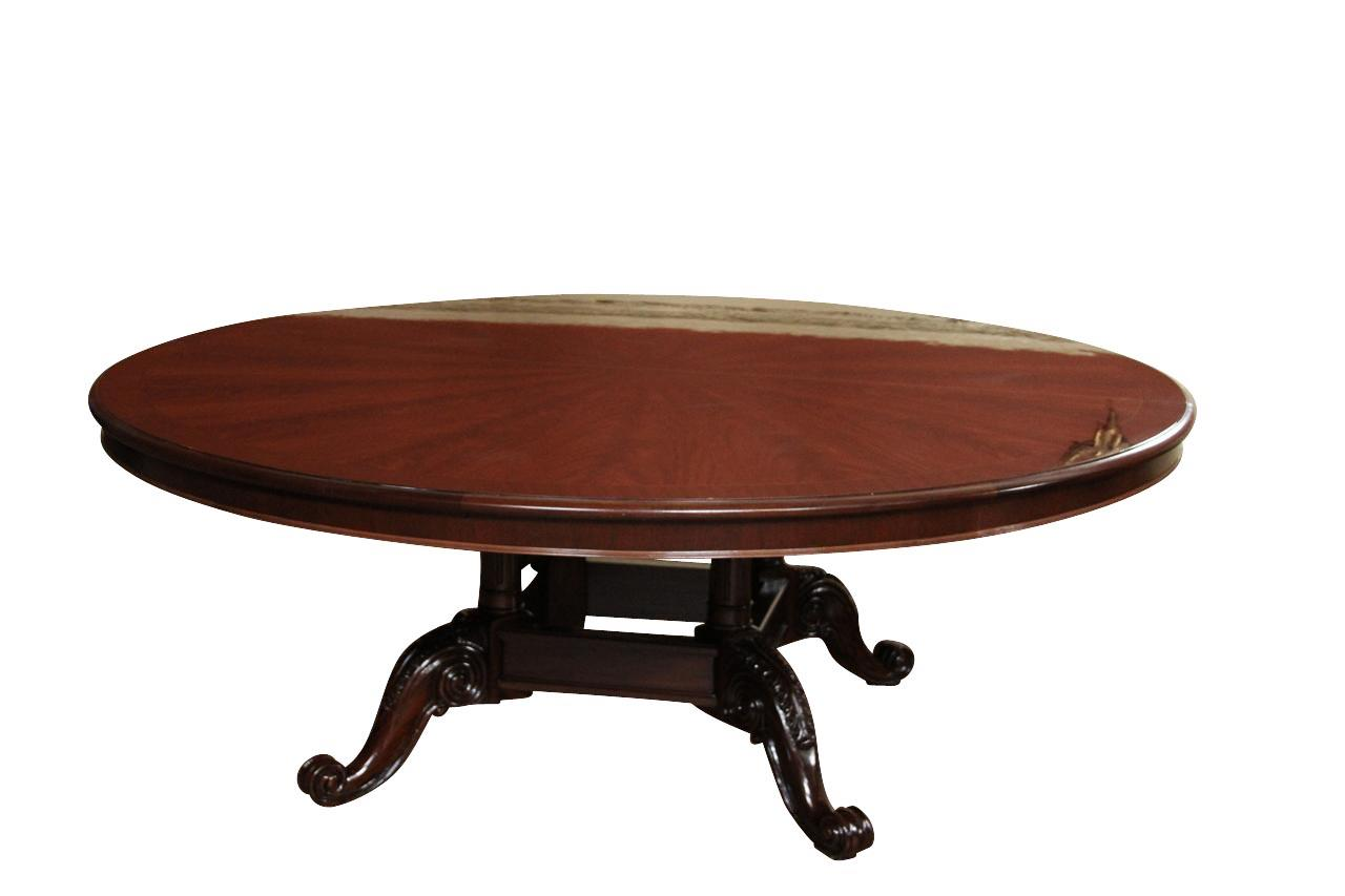Extra large 84 round mahogany dining table american made for Extra small dining table