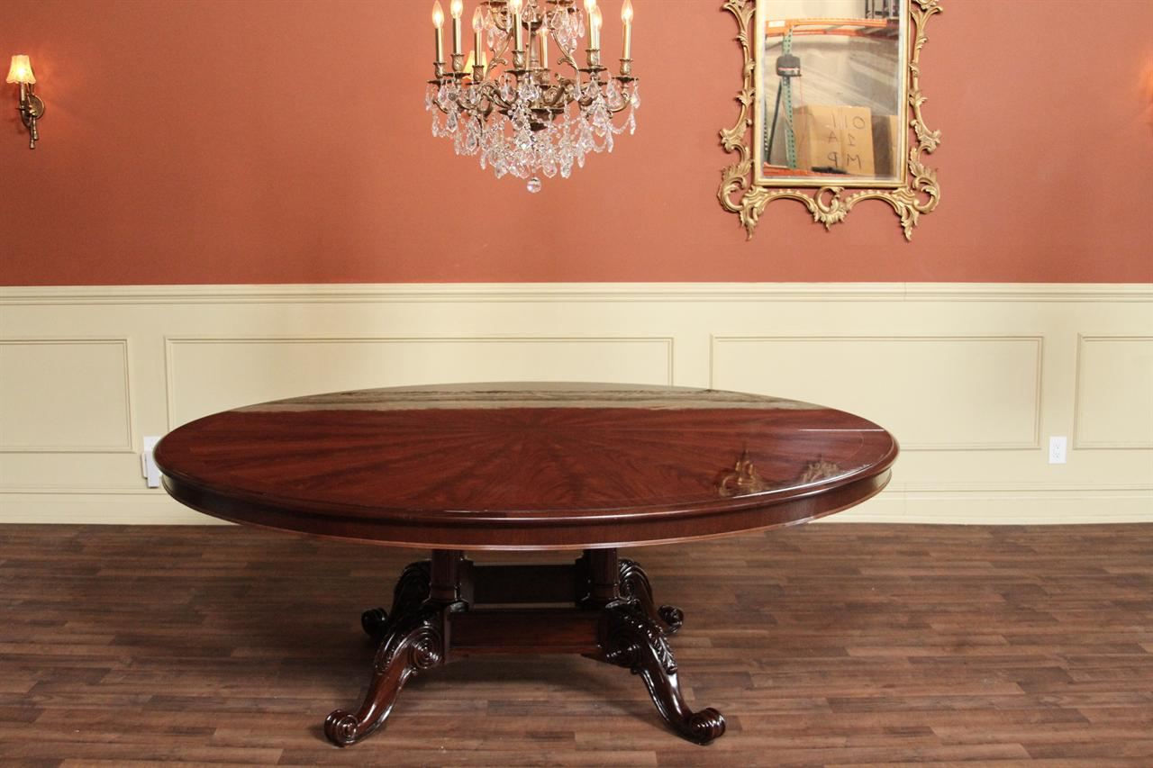 Large 84 inch round mahogany dining table round table for 10 inch high table