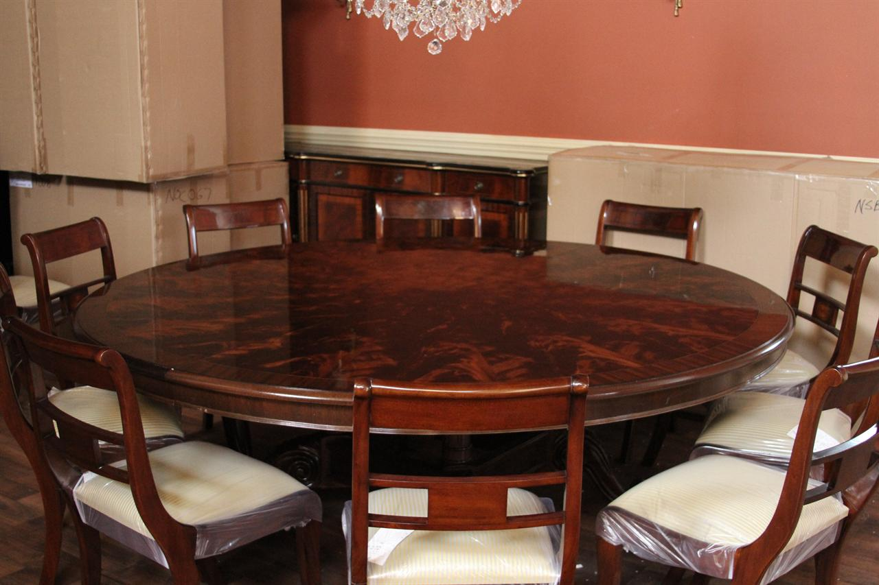 American made 84 round mahogany dining table shown in dark walnut finish