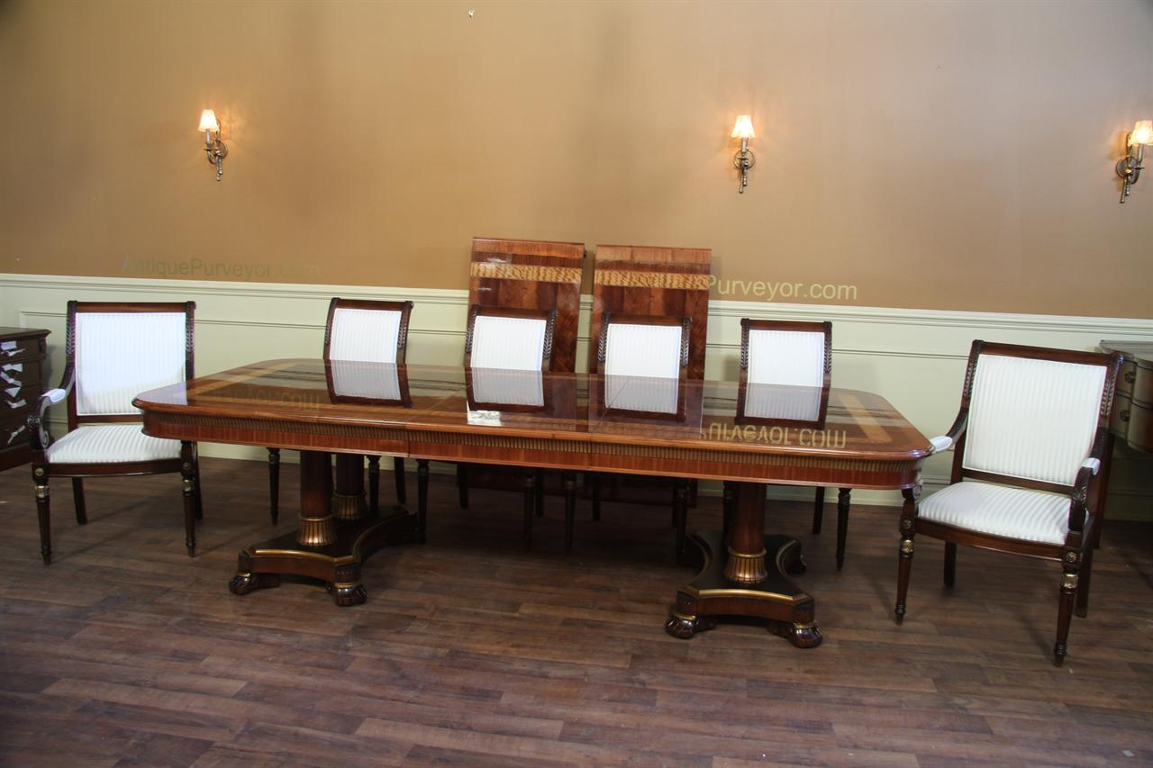 Large mahogany dining room table regency transitional for Large dining room table