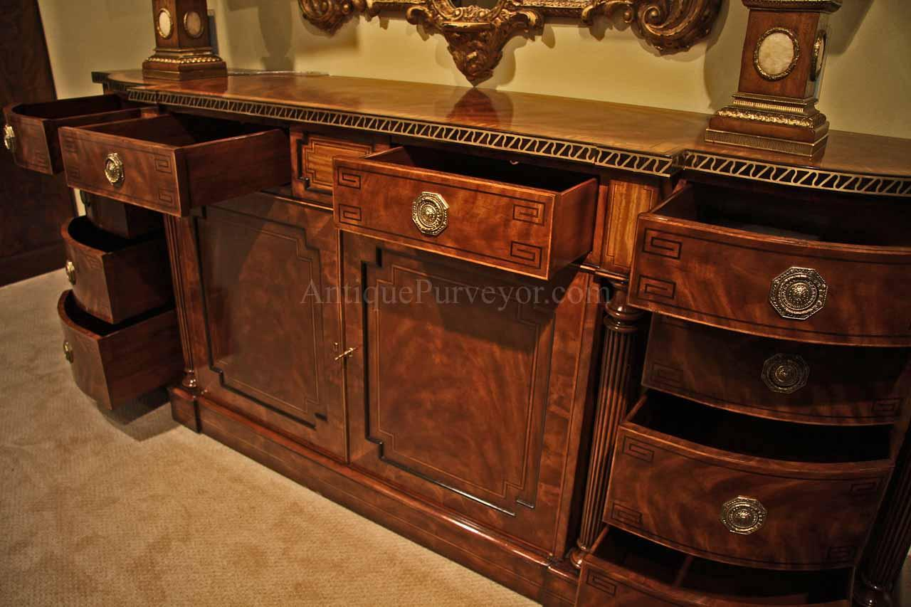 Large regency style flame mahogany sideboard or credenza for Dining room sideboard