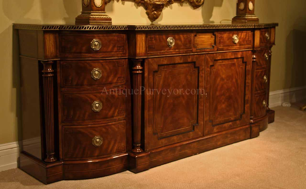 Large Regency Style Flame Mahogany Sideboard Or Credenza