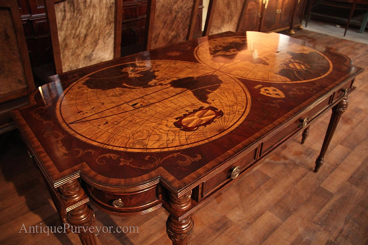 Traditional Inlaid Mahogany and Walnut Library Table or Writing Desk