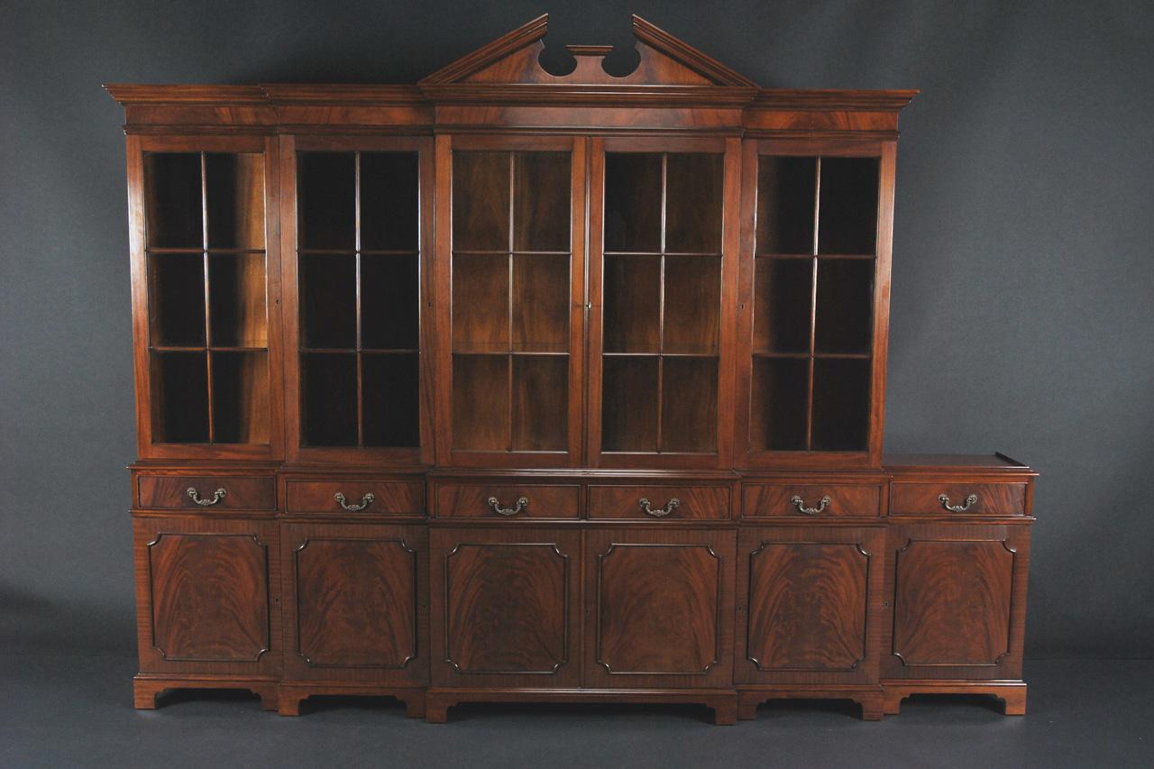 Large 6 Door Mahogany China Cabinet Standing Behind American Made Dining Table