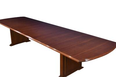 Extra Long Mahogany Conference Table Extends To Seat 18 20 People.