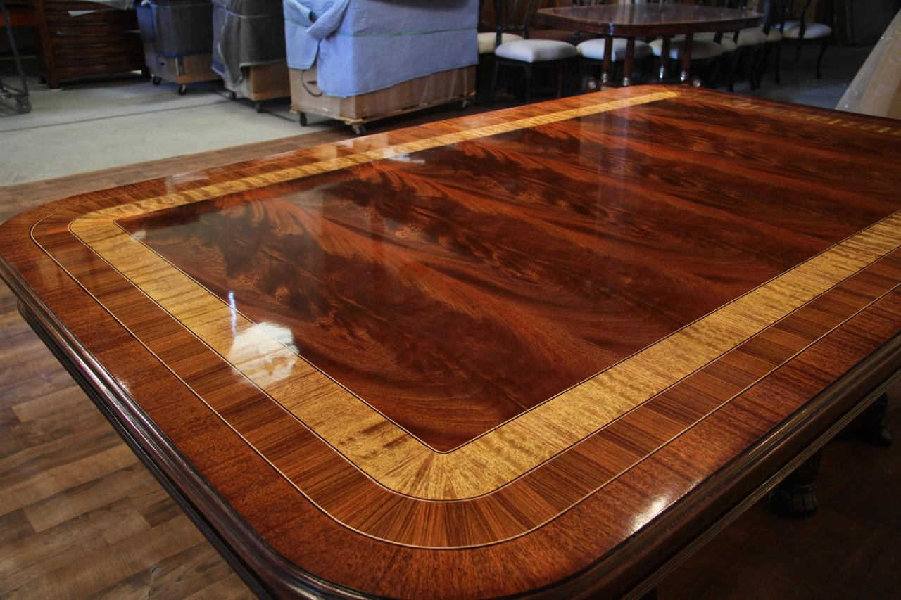 Large mahogany dining room table regency transitional for Mahogany dining room table
