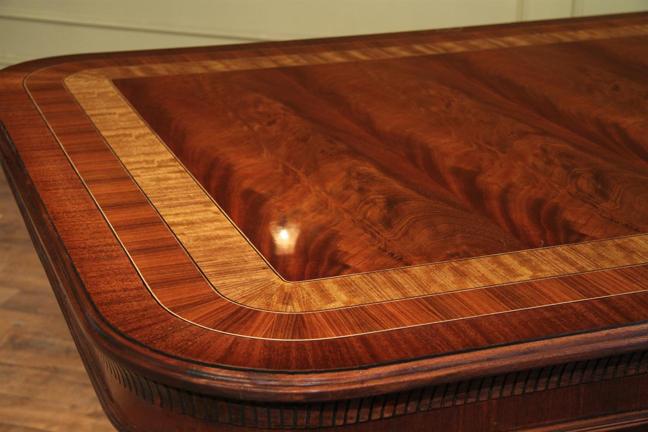 custom mahogany double pedestal dining table for a large dining room