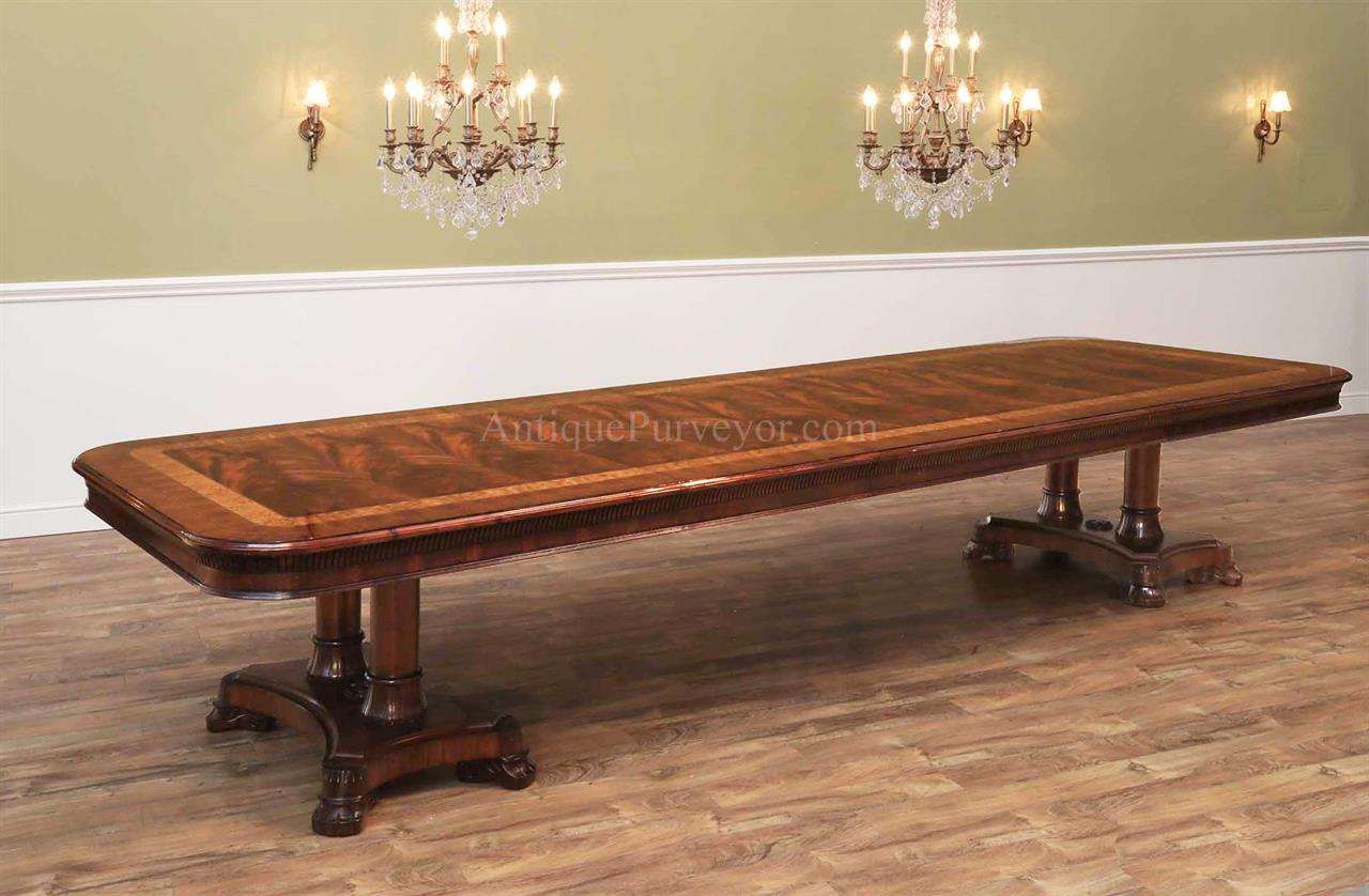Large Mahogany Dining Room Table, Regency,Transitional  & American