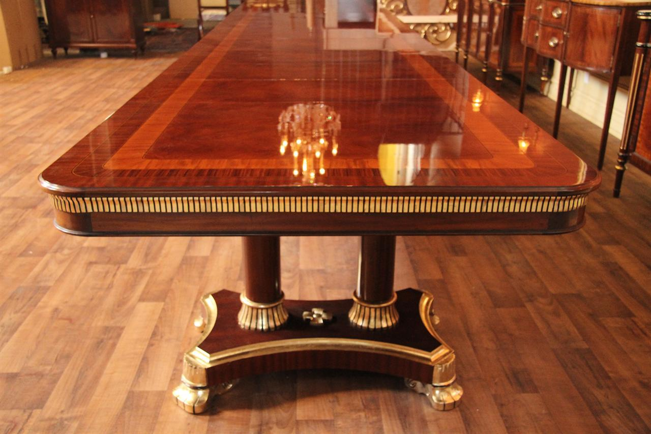 Large high end mahogany dining table antique reproduction for 12 foot long dining room table