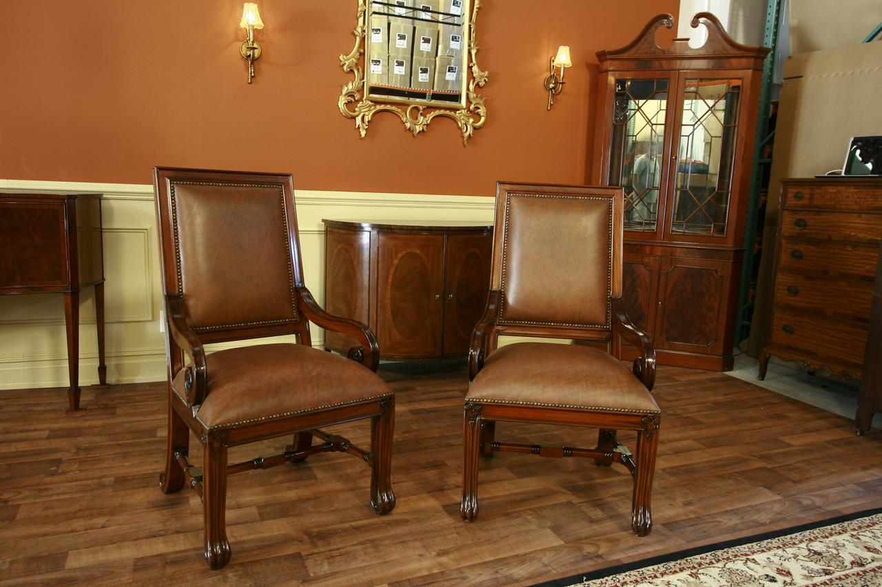 Delightful Leather Upholstered Mahogany Dining Chairs