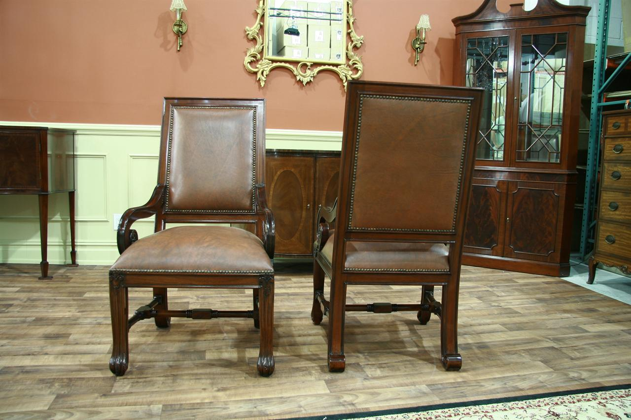 Extra large american style leather upholstered dining chairs for Large dining room chairs