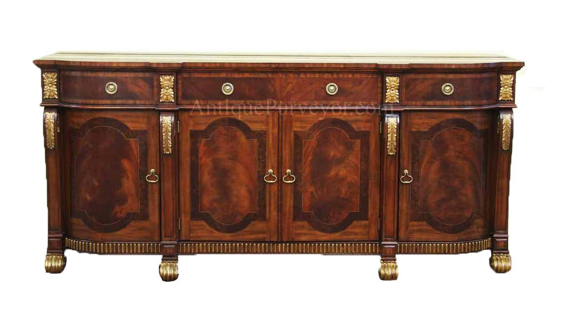 Large Mahogany Regency Style Sideboard With Gold Accents And Carved