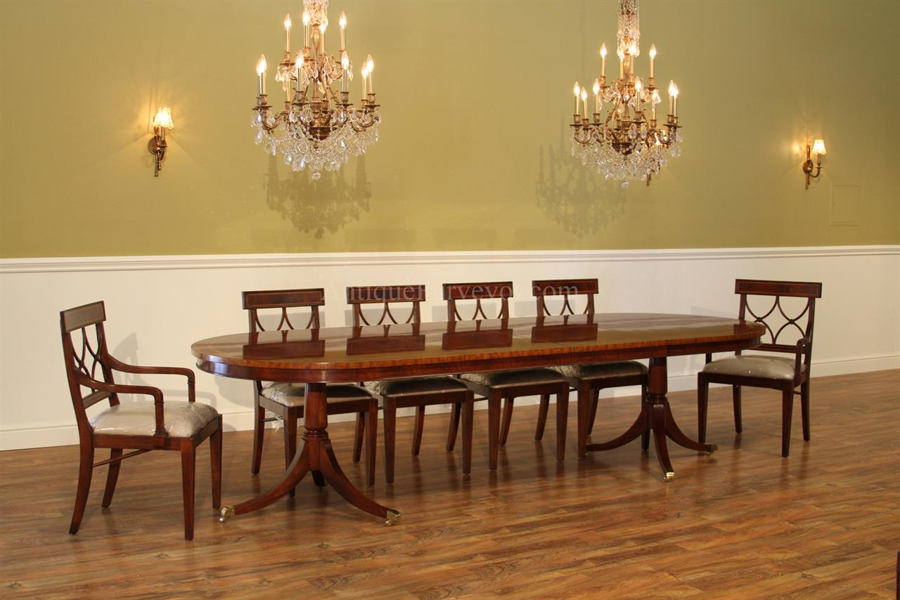 Large oval mahogany double pedestal dining room table with for Oval dining room table