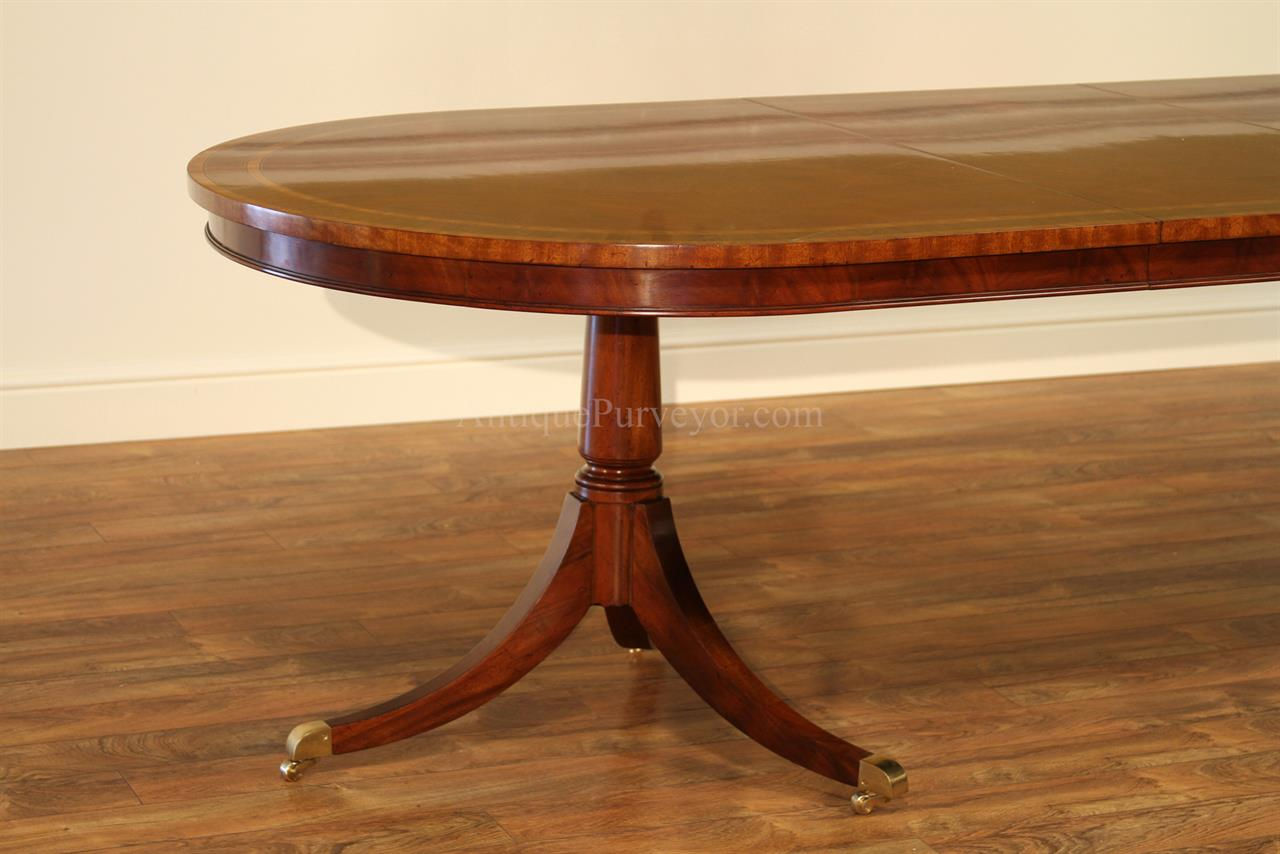 Large oval mahogany double pedestal dining room table with for Oval dining table