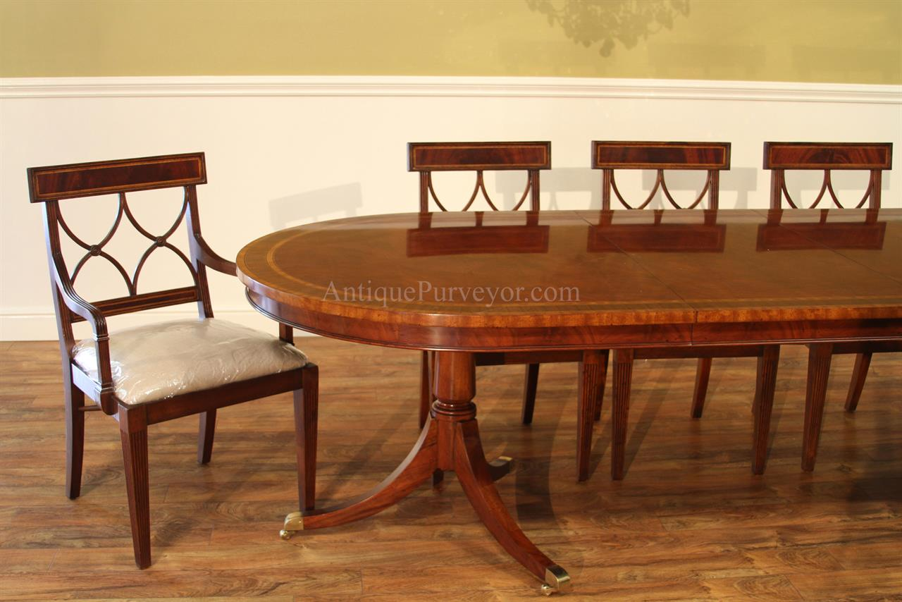 Large oval mahogany double pedestal dining room table with for Dining room tables large