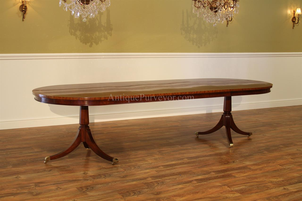 Large Oval Inlaid Mahogany Double Pedestal Dining Room Table