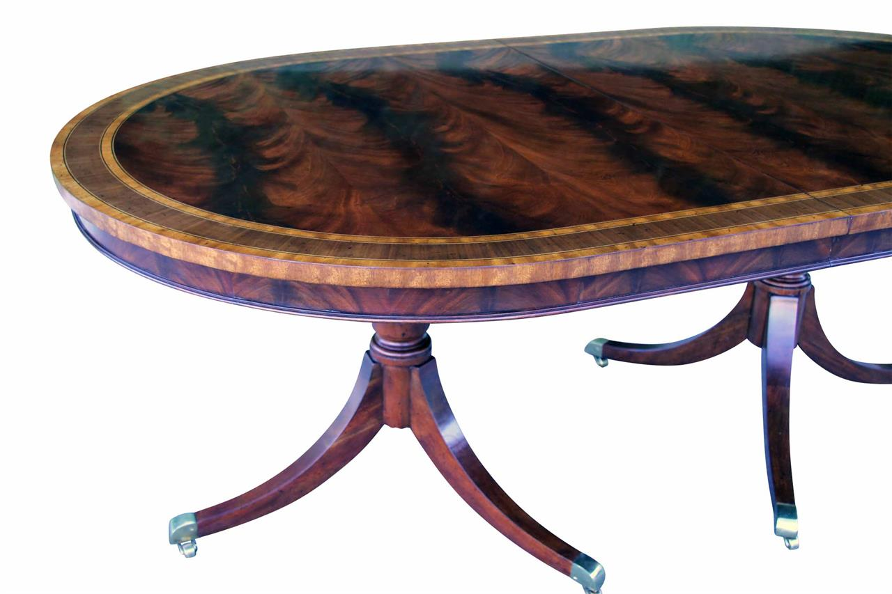 Formal Oval Inlaid Mahogany Dining Table With Leaves