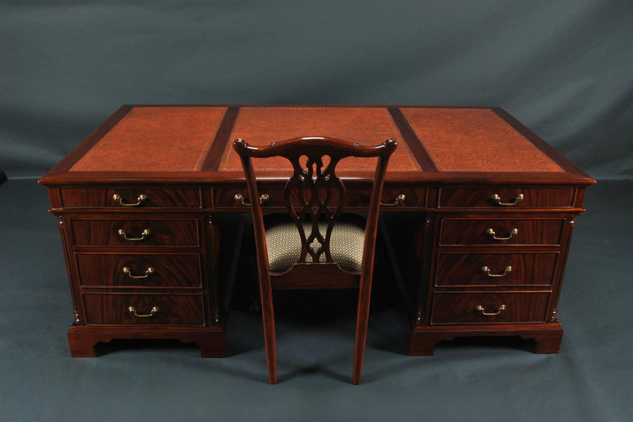 Large Mahogany And Leather Partner S Desk With File Drawers