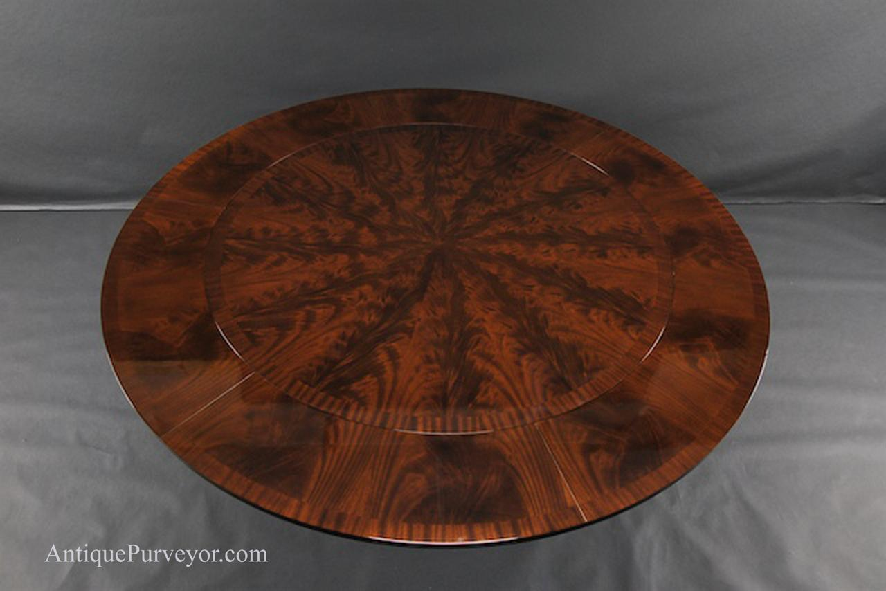 High End Dining Table With Hard To Find Flame Mahogany Veneers Finished In A Warm Brown