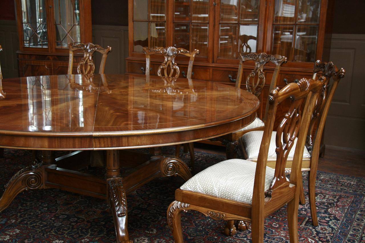 Large oversized round dining table large round mahogany for Large dining room chairs