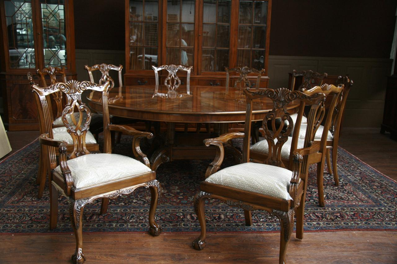 Large oversized round dining table large round mahogany for Pictures of dining room tables