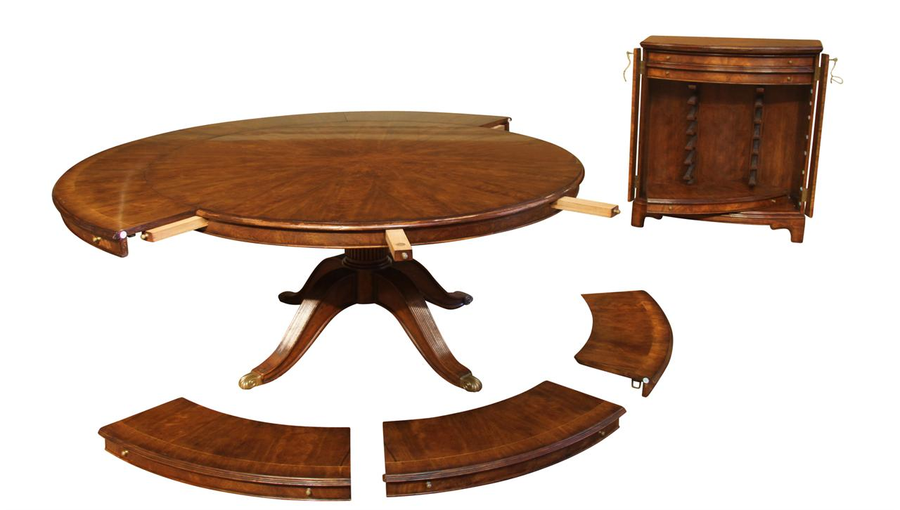 Expandable round walnut dining table formal traditional for Dining room tables with storage
