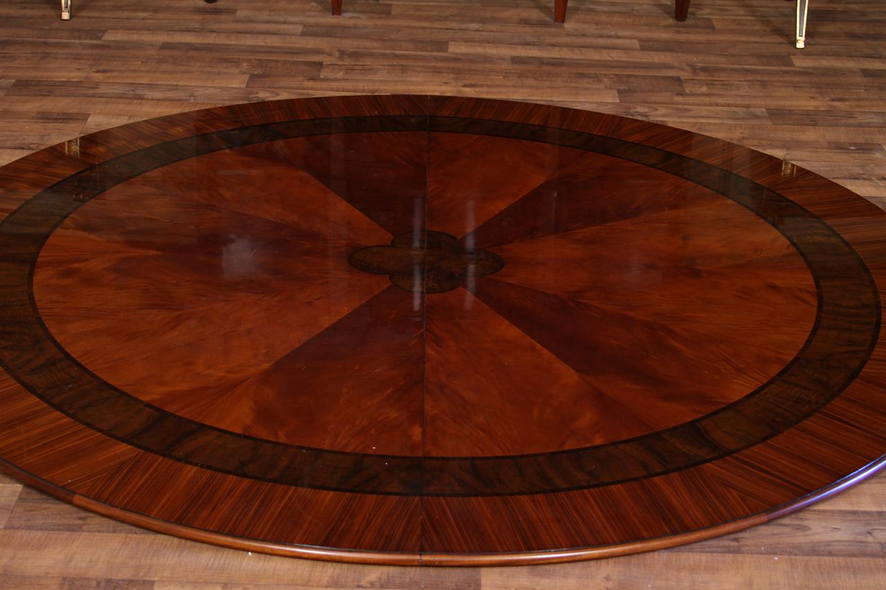 "84"" High End Large Round Mahogany Dining Table with 2 ..."