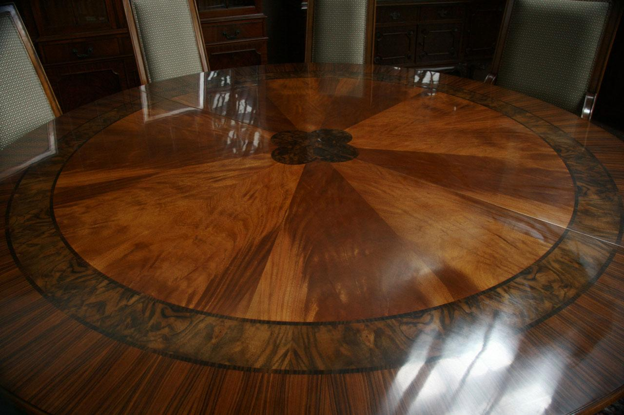 84 high end large round mahogany dining table with 2 for Dining room round table