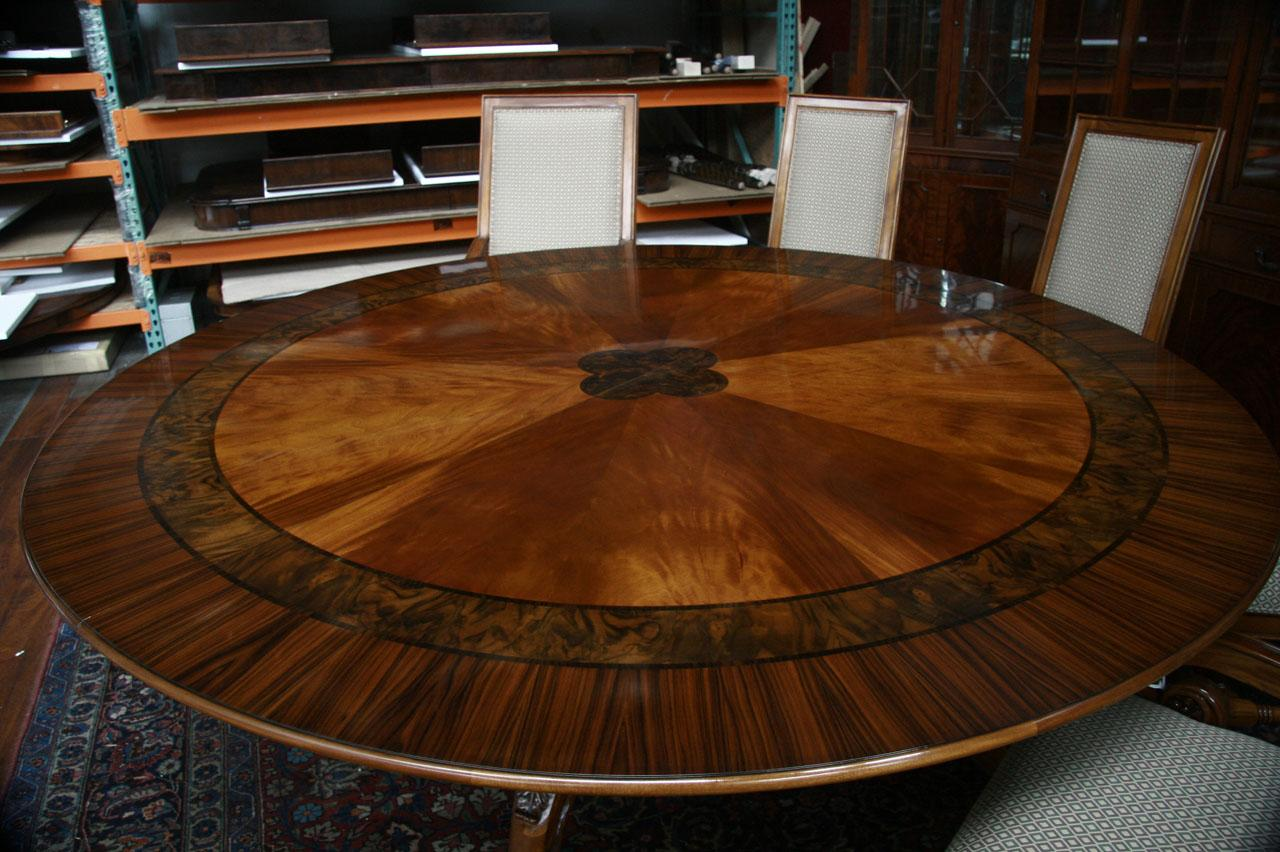 end large round mahogany dining table with 2 bands dining room table