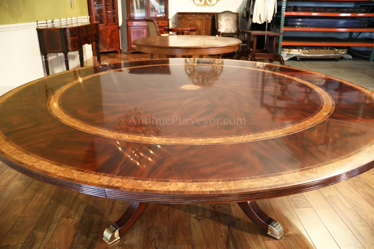Large round mahogany dining room table with perimeter for Dining room tables large
