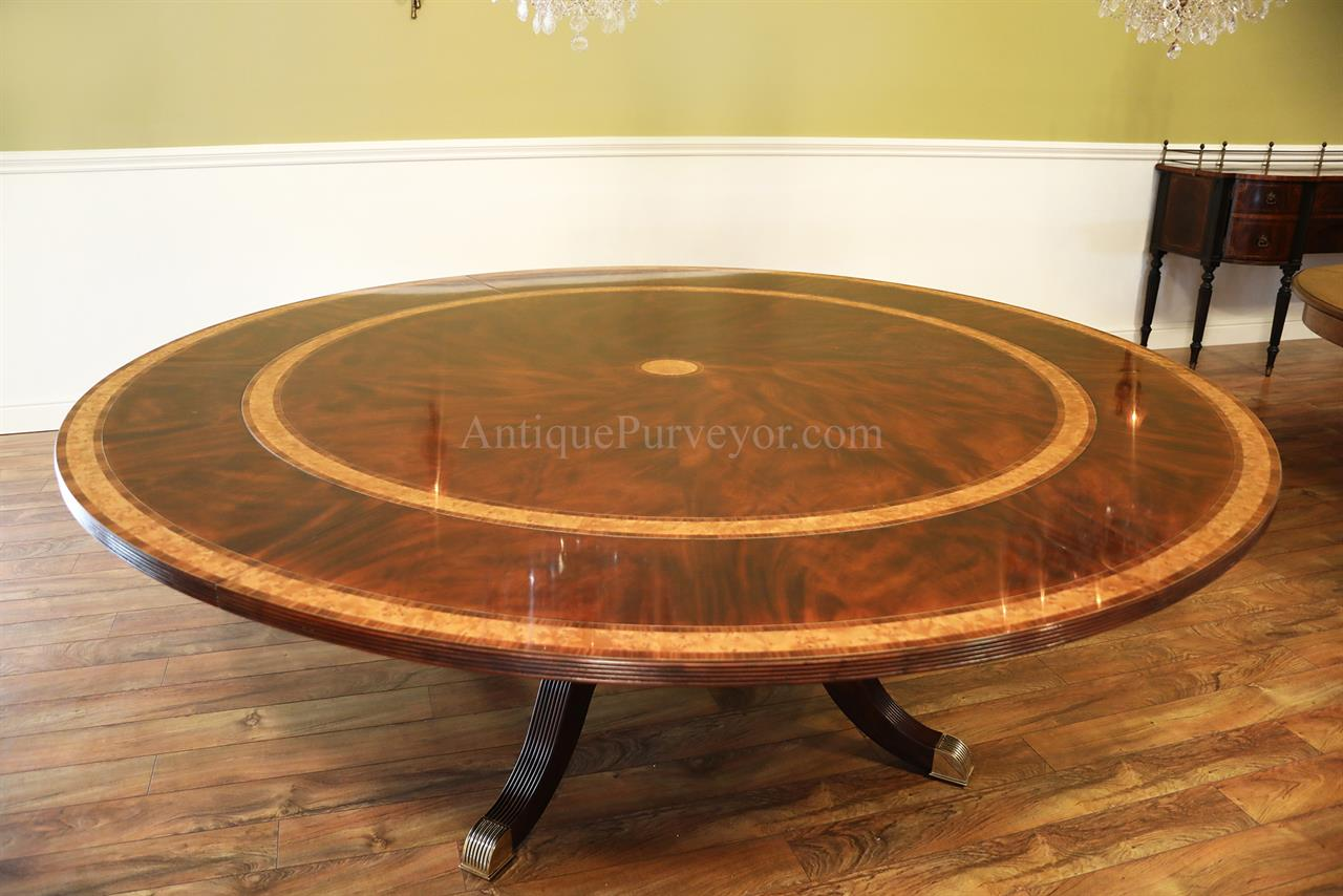 Large formal traditional round mahogany dining table w leaves for Dining room tables with leaves