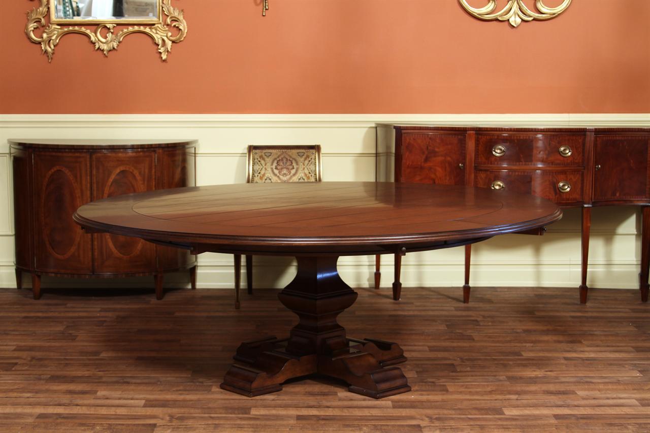 Large round perimeter table. farm table & leaves | eBay