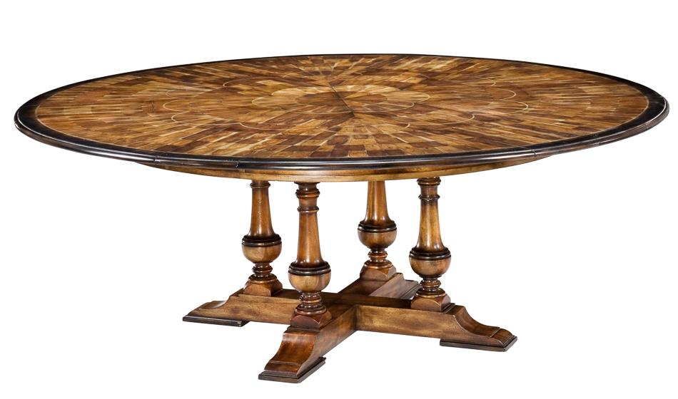 Large round to round dining jupe table walnut table with for Large round dining table with leaf