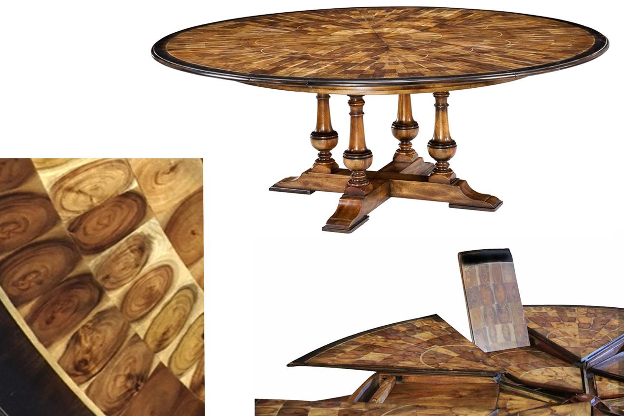 Large round to round dining jupe table walnut table with for Dining room tables with leaves