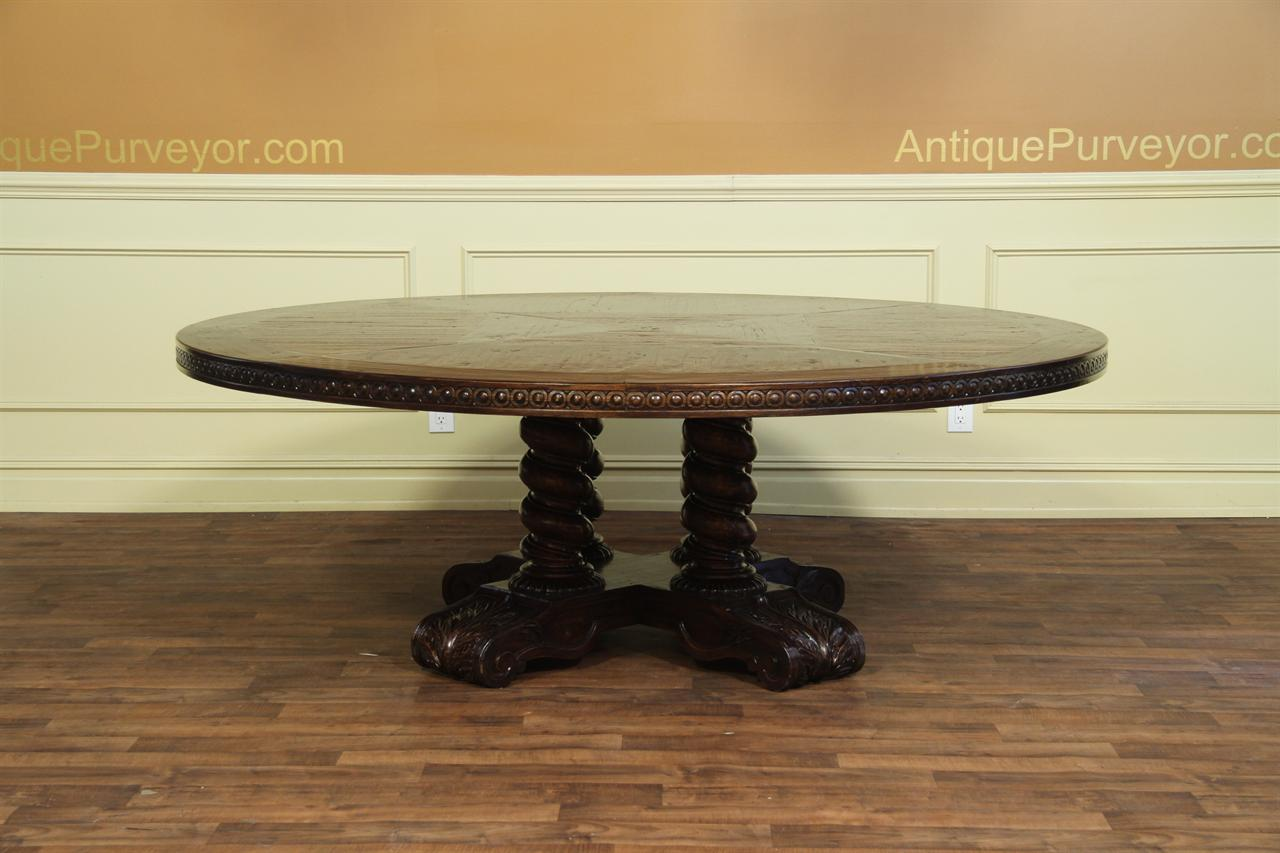 Large round walnut dining table rustic casual finish for Large round dining table