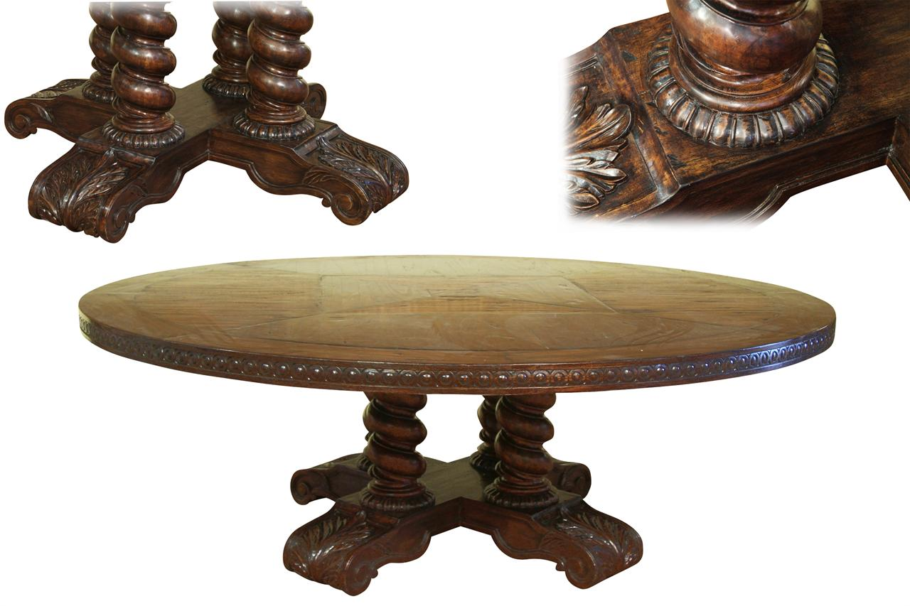 Round Oak Dining Table Part - 46: Large Round Solid Oak Dining Table