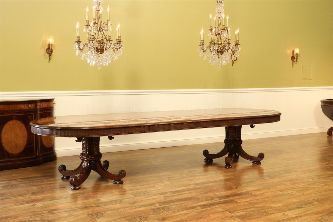 Large luxurious burly ash and mahogany oval dining table for Large kitchen tables with leaves
