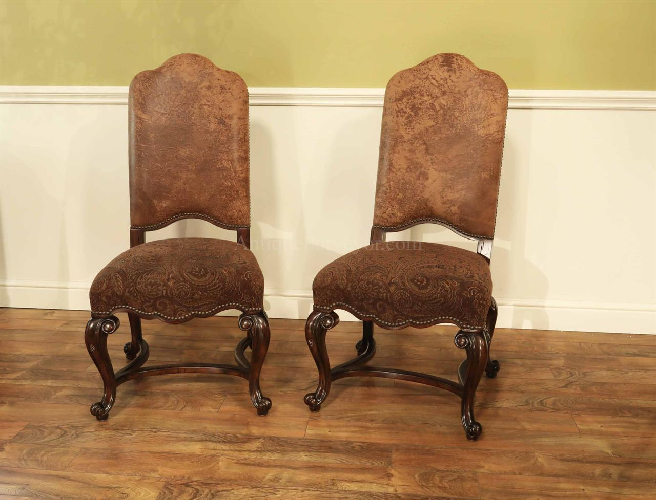 Leather and Paisley Upholstered Tuscan Style Dining Chairs