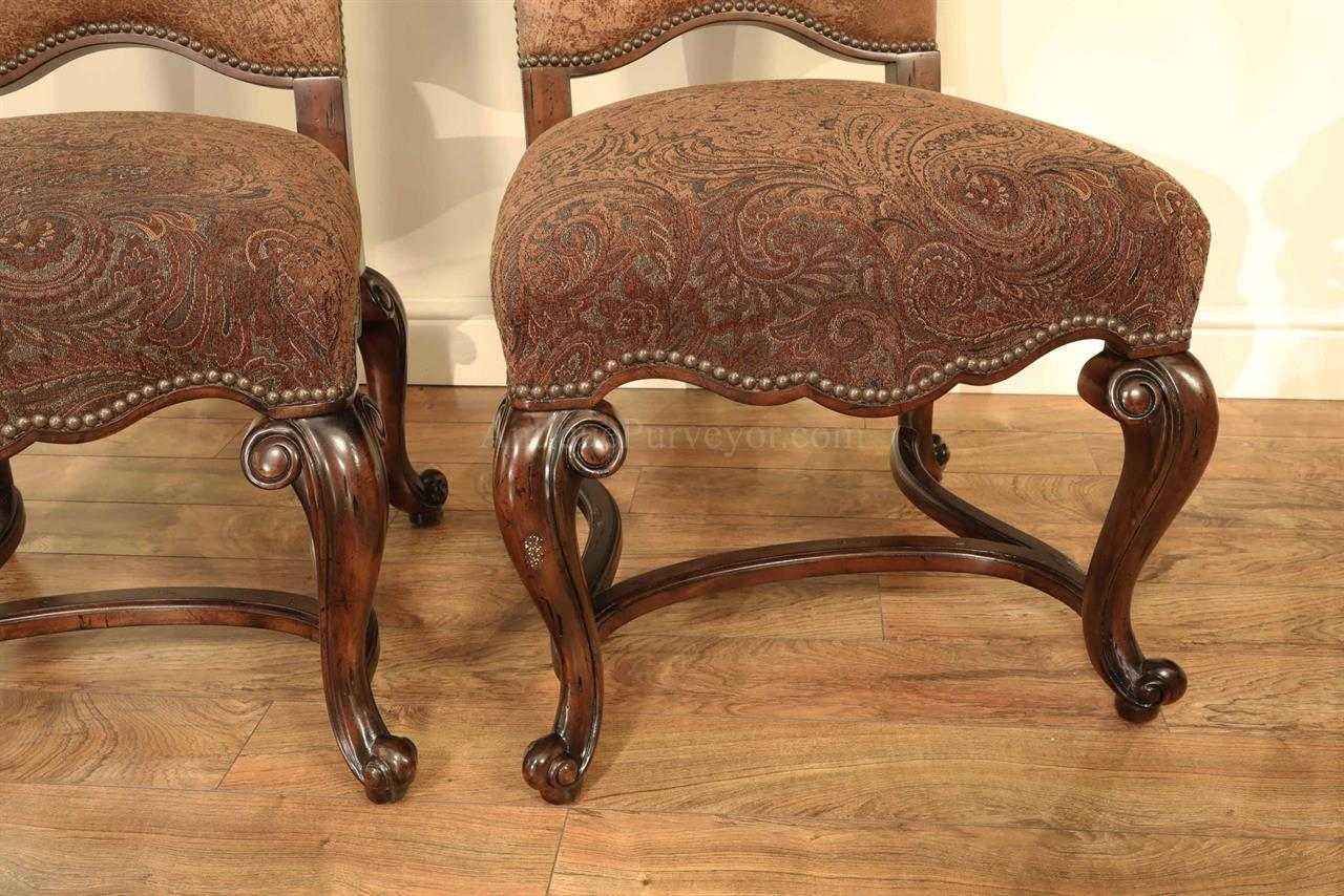 Tuscan Style Upholstered Paisley Dining Room Chairs