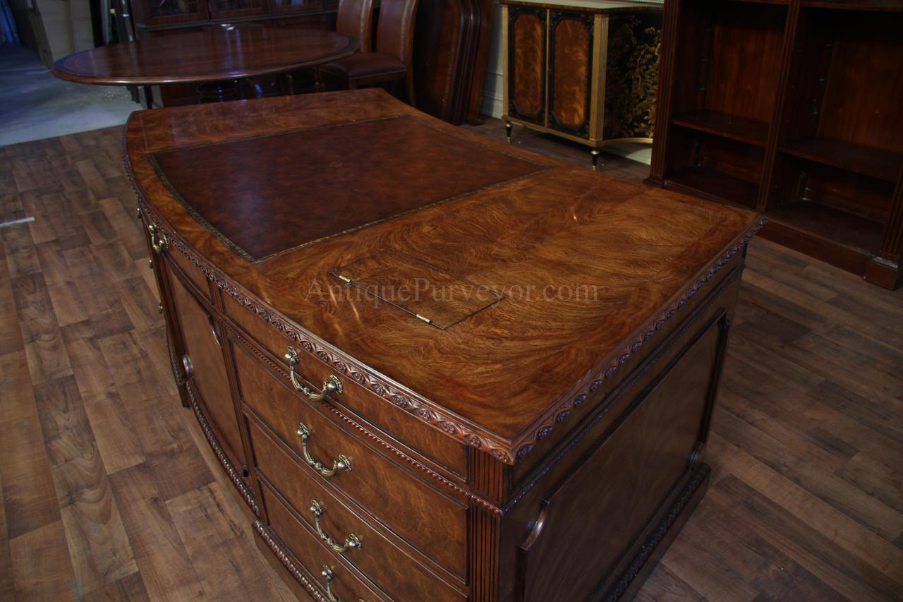 Leather Top Desk With Unique Shape