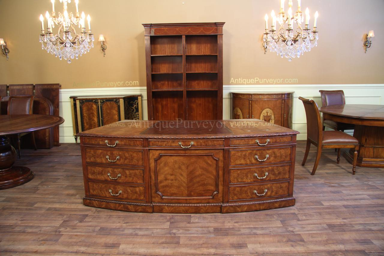 High end George III executive desk with faux drawers on front - Traditional Leather Top Executive Desk, Mahogany Antique Reproduction
