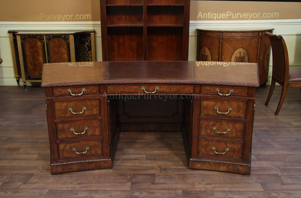 George III Antique Reproduction Leather Top Executive Desk - Leather Top  Mahogany Executive Desk, Fine - Antique Desk With Leather Top Antique Furniture