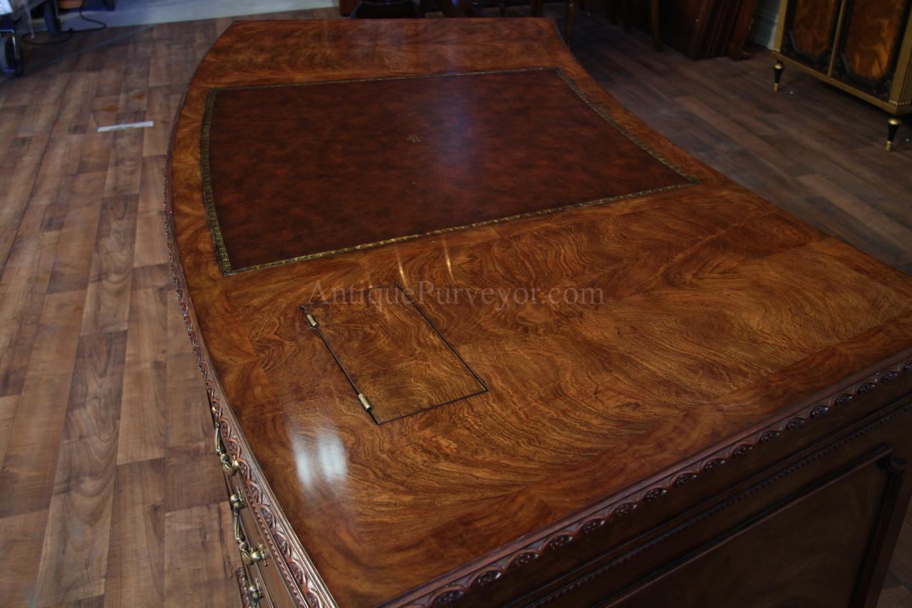 Leather Top Mahogany Executive Desk Fine Antique Reproducti
