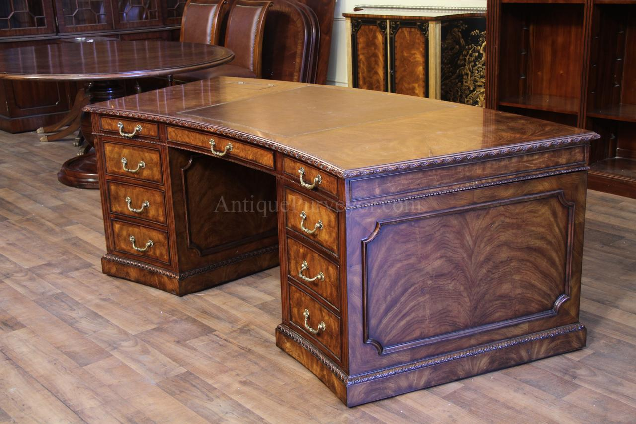 Curved leather top executive desk - Leather Top Mahogany Executive Desk, Fine Antique Reproducti