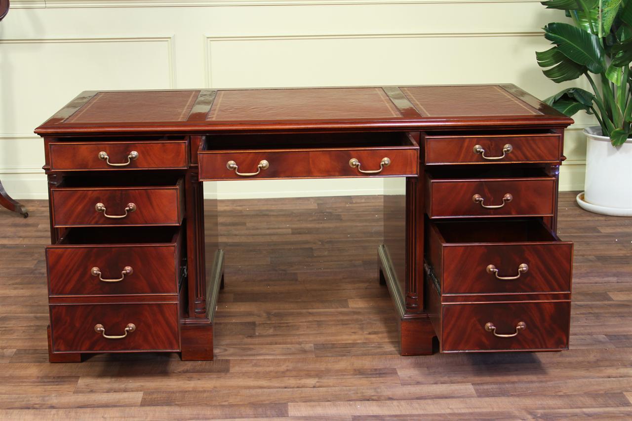 Antique Partners Desk Elegant Reception Desk