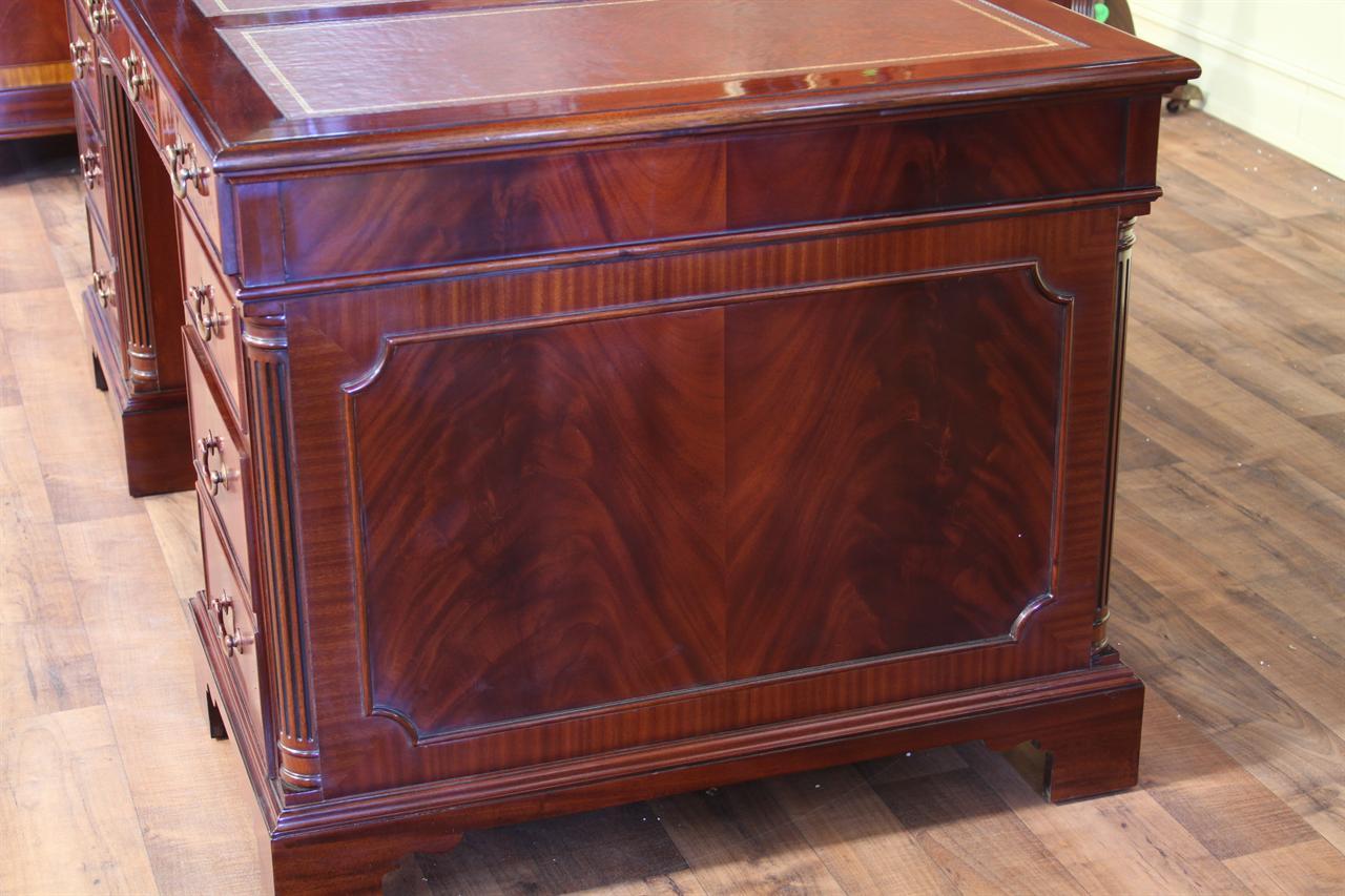 leather top executive desk shown in mahogany finish - Mahogany Desk