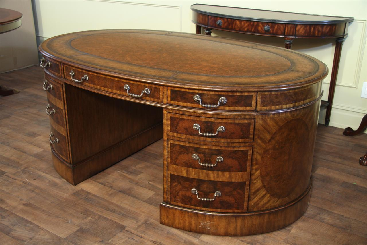 Oval walnut partners desk with leather top . High quality antique  reproduction with detailed inlays. - Mahogany And Walnut Traditional Leather Top Partners Desk