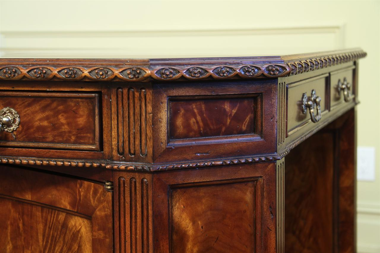 Superior Quality Flame Mahogany Partners Desk, Center Privacy Panel/file Cabinet Can  Be Easily Removed.