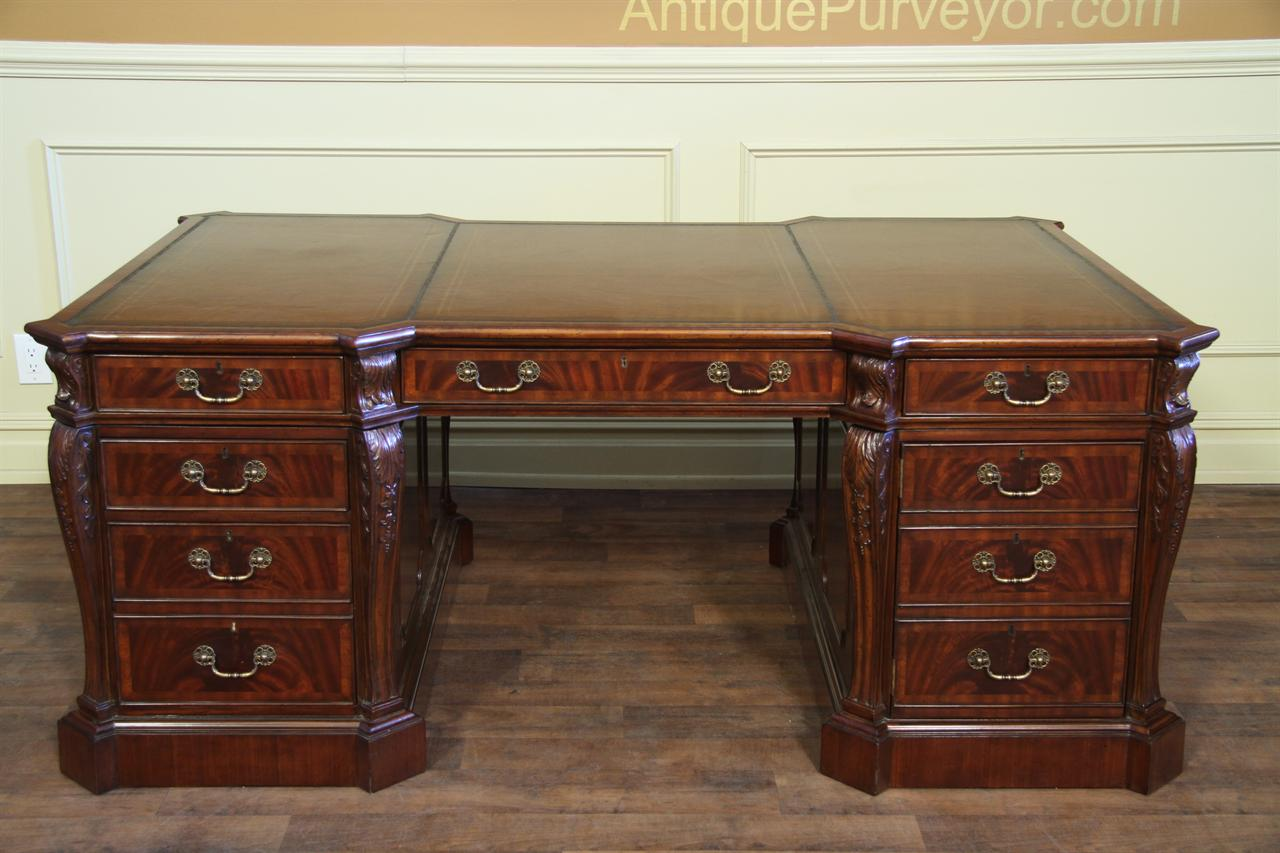 Fine Antique Reproduction Leather Top Partners Desk for Sale - Leather Top Partners Desk Fine Antique Mahogany Reproduction